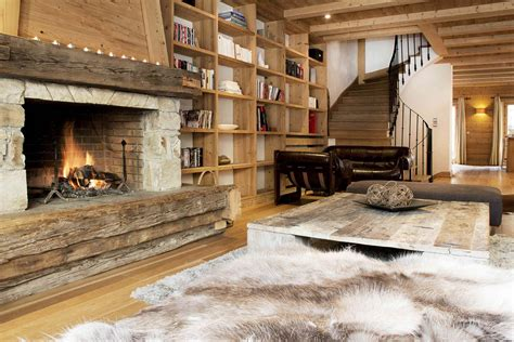 skin rug fireplace chalet grand sarire in val d isere by skiboutique