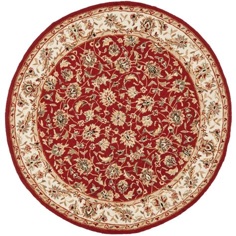 Rounds Rugs Safavieh Chelsea Burgundy Ivory 8 Ft X 8 Ft Area Rug Hk78b 8r The Home Depot