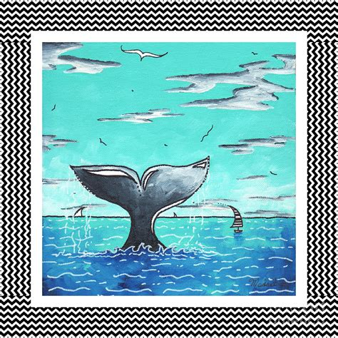 nautical painting coastal nautical decorative art original painting whale