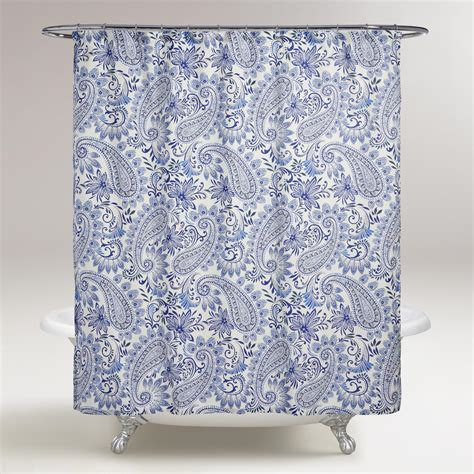shower curtain paisley blue paisley navodari shower curtain world market