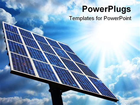 powerpoint template large solar panel with blue sky and