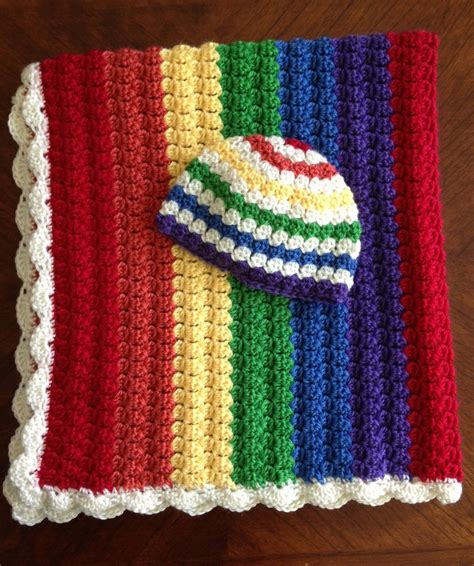 Rainbow Crochet Baby Blanket by Illuminate Crochet Colors Rainbow Baby Blanket And Hat Set