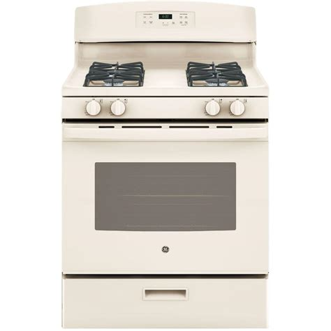 ge 30 in 4 8 cu ft free standing gas range in bisque