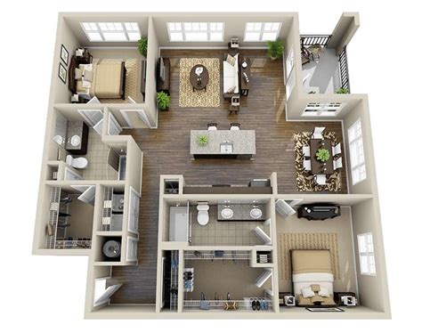Two Bedrooms by 10 Awesome Two Bedroom Apartment 3d Floor Plans