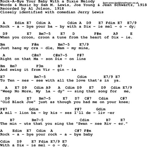 melody lyrics song lyrics with guitar chords for rock a bye your baby
