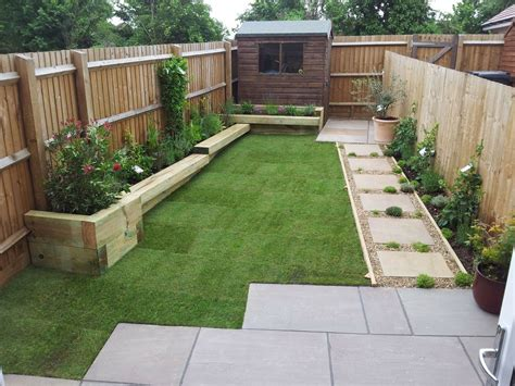 Small garden with raised beds / sleeper benches   Garden