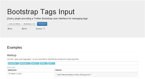 Tutorial Bootstrap Tags Input   50 jquery bootstrap plugins for your next projects