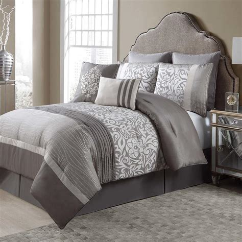 King Size Bedding Set 8 Grey And Beige 8 Comforter Set Pleated Floral