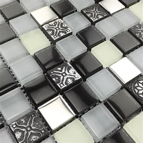 Wall Tile Stickers Kitchen deep gray color mixed clear glass mosaic tiles for kitchen
