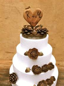 pine cone themed decor fall wedding cake topper rustic cake topper wooden