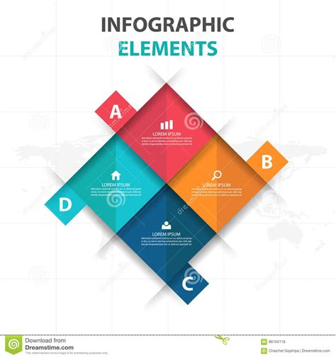 banners flat design elements vector 18 abstract 4 square business infographics elements