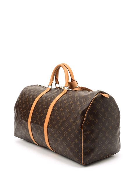 louis vuitton monogram keepall  travel bag  brown
