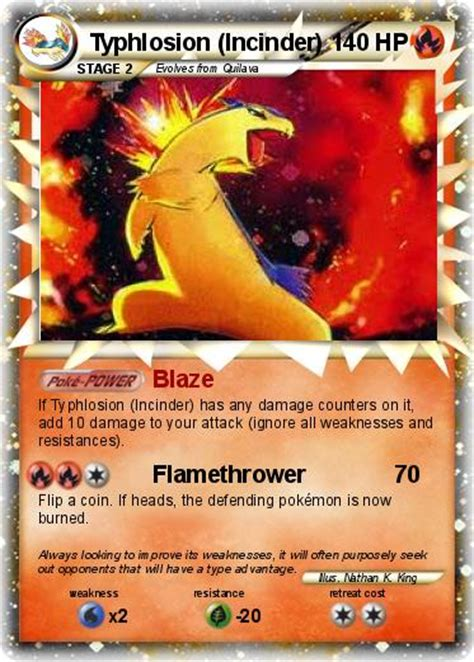 Card Typhlosion pok 233 mon typhlosion incinder blaze my card