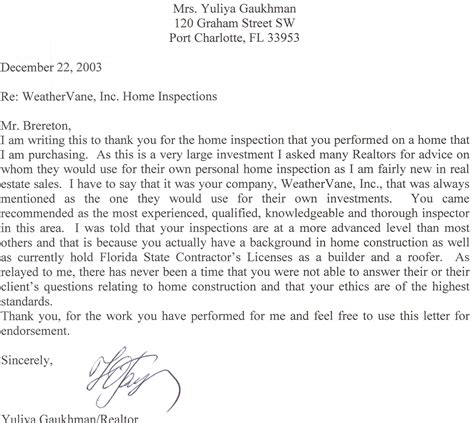 Realtor Recommendations by Realtor Recommendation Letter
