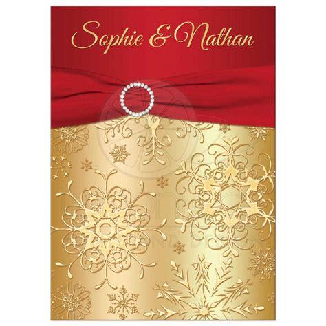 and gold wedding invitations winter wedding invitation gold snowflakes printed