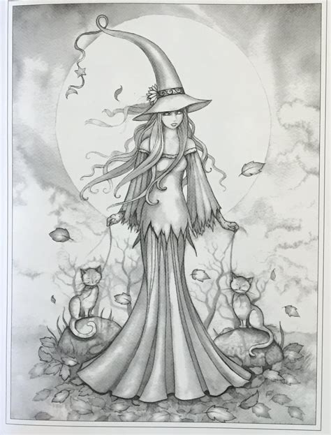kawaii witches autumn coloring book an autumn coloring book for adults japanese anime witches cats owls fall festivities books autumn magic grayscale coloring book autumn fairies