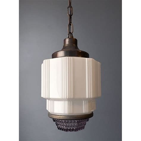 antique deco pendant light fixture with reflector