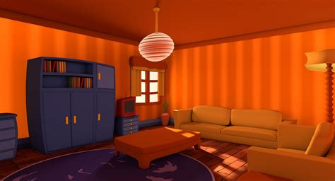 livingroom cartoon 3d c4d living cartoon room