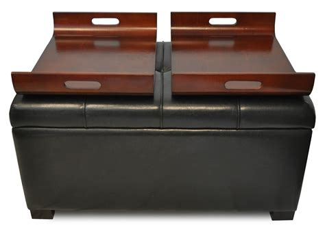 leather storage ottoman with tray brown leather ottoman leather storage ottoman with