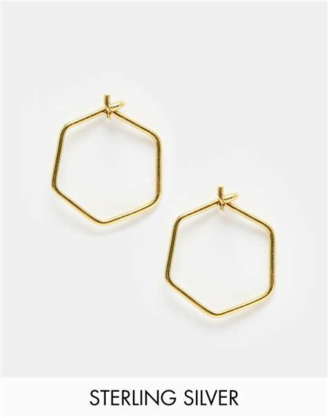 Asos Hoop Earring In Gold by Asos Gold Plated Sterling Silver 12mm Hexagon Hoop