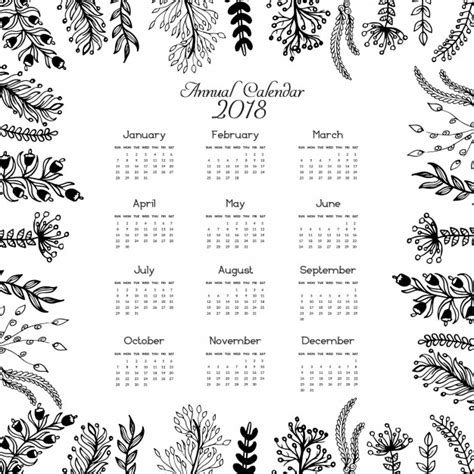 Calendar 2018 Agenda 2018 Calendar Leaves Design Vector Free