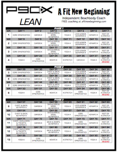 printable gym schedule p90x lean schedule a fit new beginning fitness