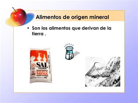 origen de los alimentos mineral alimentos sun su origen
