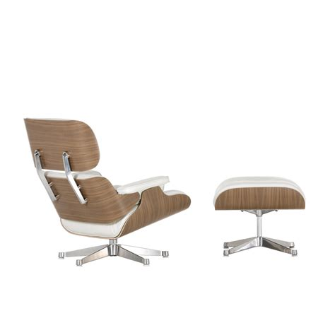 white chair and ottoman vitra eames lounge chair ottoman walnut white
