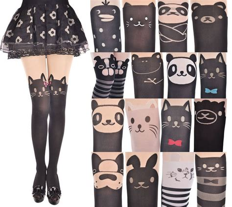 cute stockings japan women cute cartoon animal mock knee high tattoo