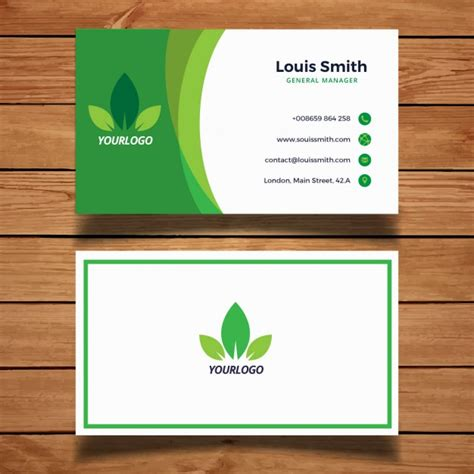 environmental business card template green business card with leaves vector free