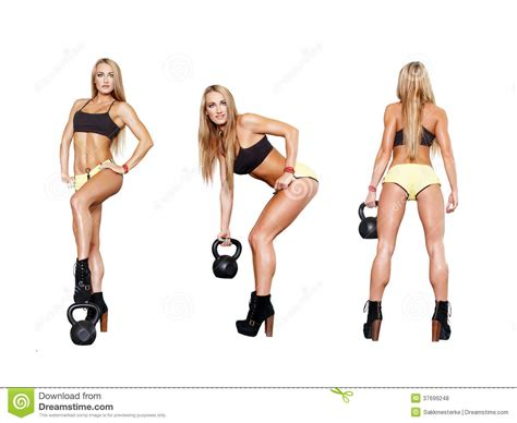 collection  exercises  kettlebell stock photo image  powerful force
