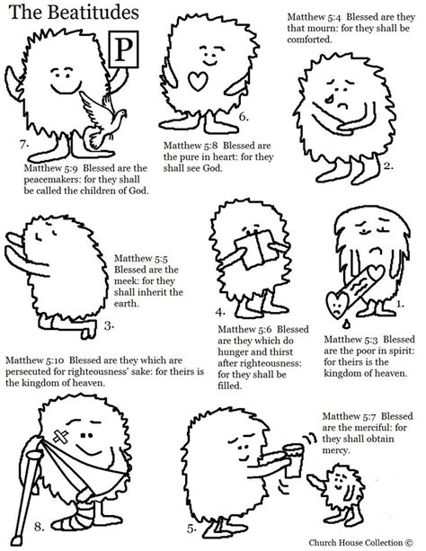 8 beatitudes and the works the beatitudes coloring page sunday school coloring