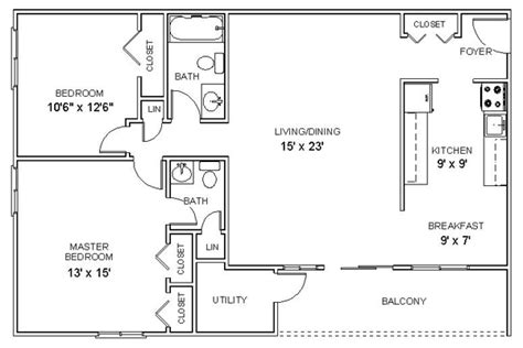 Calculate House Square Footage by Apartment Floor Plans Two Bedroom Apartments In Clifton