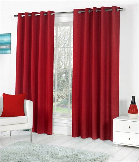 solid red curtains pindia set of 2 long door eyelet curtains solid red buy