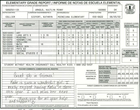 middle school report card template elementary school report card template homeschooling