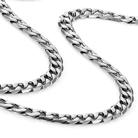 Kalung Titanium Slver 6mm classic mens necklace 316l stainless steel silver chain