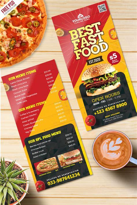 fast food menu card templates fast food menu card free psd psdfreebies