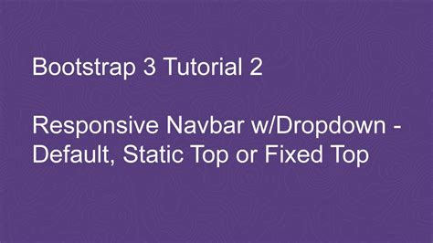 tutorial bootstrap dropdown bootstrap 3 tutorial 2 responsive navbar with dropdown
