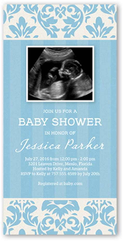 Baby Shower Invitations Shutterfly by Dreamy Damask Boy 4x8 Photo Card Baby Shower Invitations