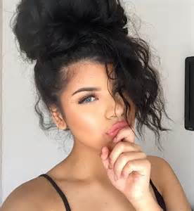 pics of black pretty big hair buns with added hair admirablement beaut 233 noir cheveux noirs yeux bleux