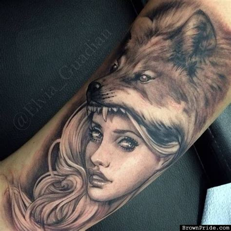 wolf tattoo for girl grey ink wolf on bicep by elvia guadian