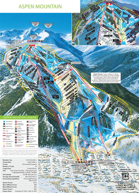usa ski resort map aspen mountain piste maps