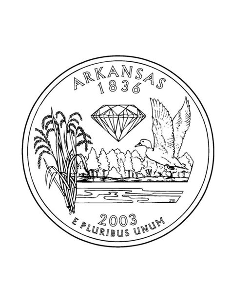 coloring page of quarter arkansas state quarter coloring page u s 50th states