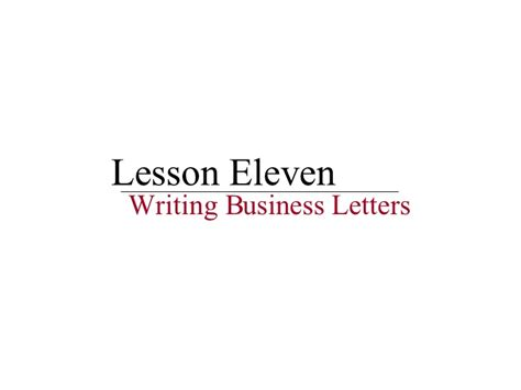 Business Letter Writing Activity Lesson 11 Writing Business Letters