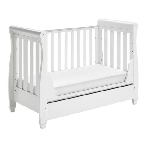kiddies kingdom sleigh cot bed dropside with drawer