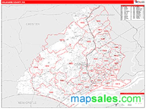zip code map delaware county pa delaware county pa zip code wall map red line style by