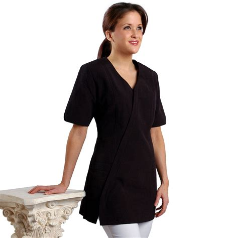 zippered hair cutting smock in can slanted zipper spa uniform 606 jmt salon spa uniforms