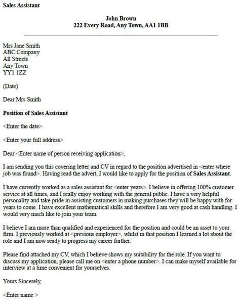 covering letter sles cover letters for sales assistant writefiction581