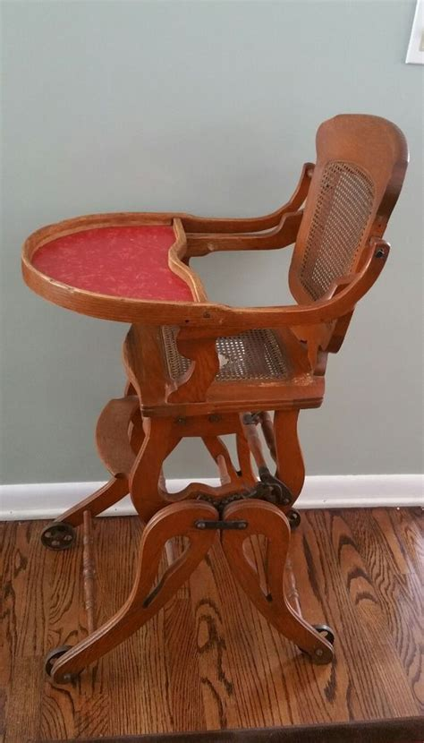 vintage folding wooden high chair vintage antique wood oak childs or doll high chair