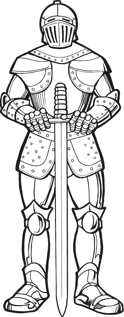 Coloring Page Of Knight In Armor | knight in armor coloring page clip art and graphics